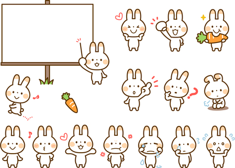 Various sets of rabbit poses