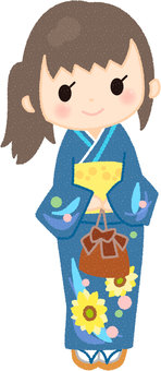 A girl in a yukata figure