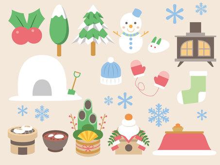 Winter illustration set