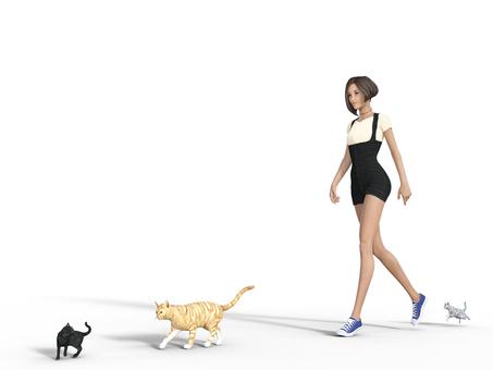 A walking woman and three cats No. 2
