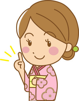 A woman with a pointing pose yukata