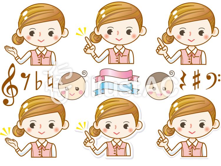 女性女の子かわいいアイコンol指差し笑顔イラスト No 390115
