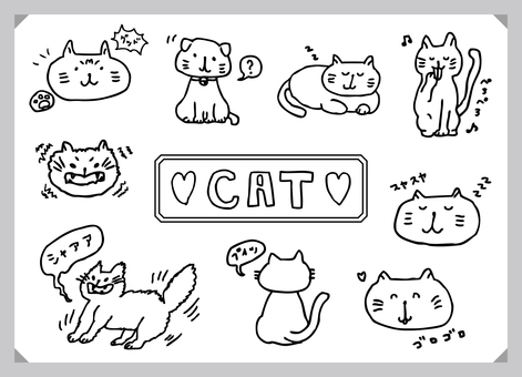 Hand-drawn cat illustration set (monochrome)