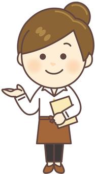 Cafe clerk (whole body)