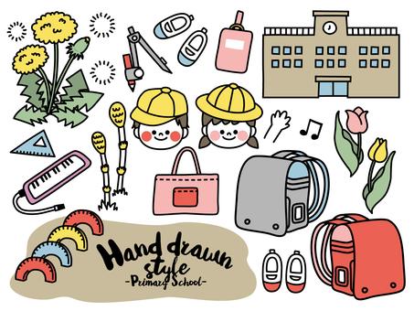 Handwritten style illustration set material <elementary school entrance>