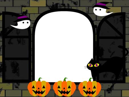 Halloween windows pumpkin ghosts black cat
