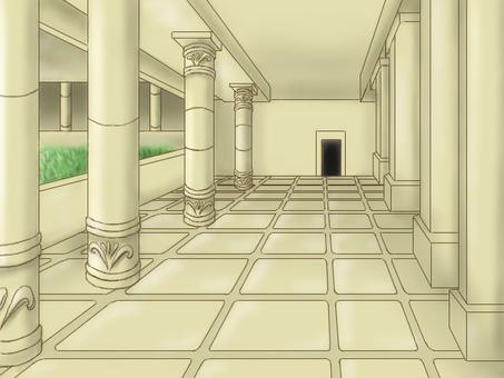 Ancient court passage background illustration