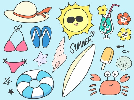 Beach illustration set