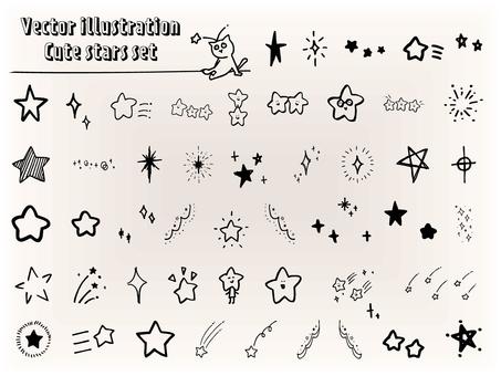 手書きかわいい星のモノクロアイコンセット