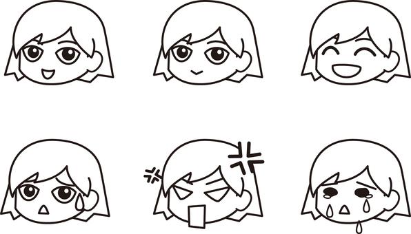 Facial expression various colors