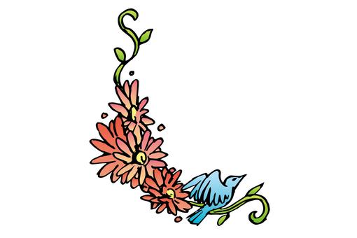 작은 새와 꽃 02