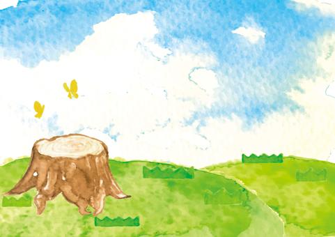 << watercolor style >> lawn, stump