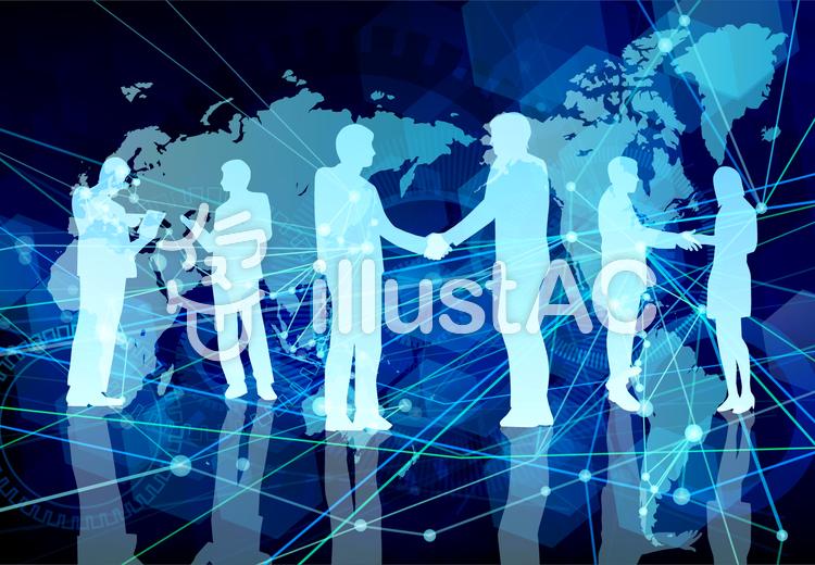 グローバルデジタルネットワークブルーのイラスト