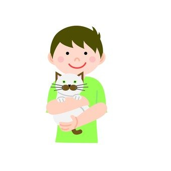 A man holding a cat