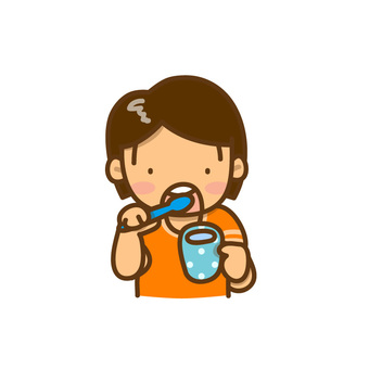 Illustration of a girl with tooth brushing