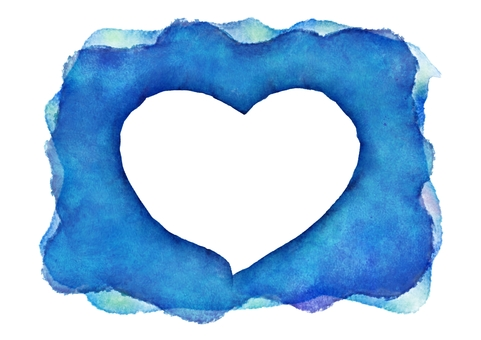 파란색 배경에 흰색 하트 수채화 배경 화면