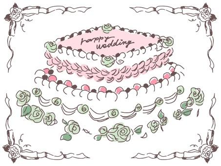 手描きのウェディングケーキ