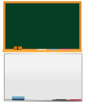 Blackboard and whiteboard set
