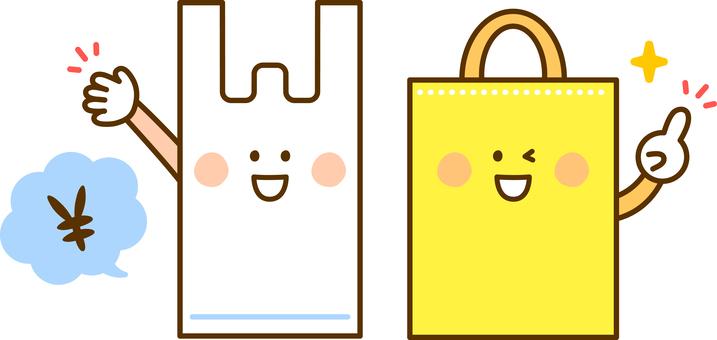 비닐 봉지와 에코 가방