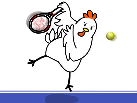 Chicken playing tennis