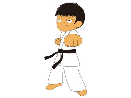 Boy making karate