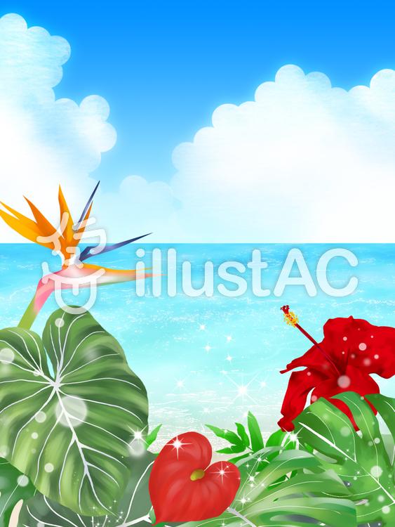 熱帯植物と海(縦)・3