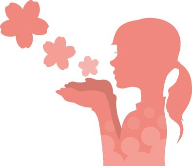 벚꽃을 부는 여성 2