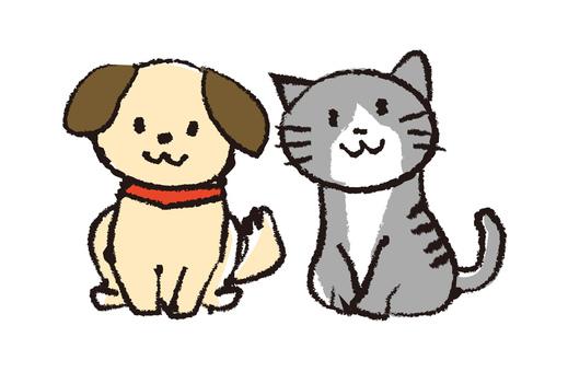 Dog cat illustration Handwriting style