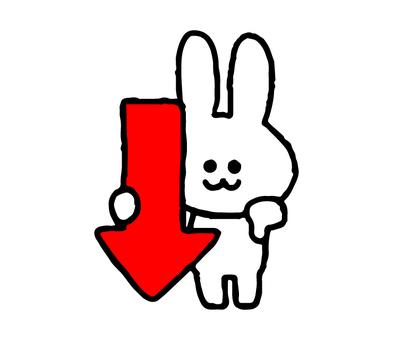 Down arrow rabbit (animal simple)