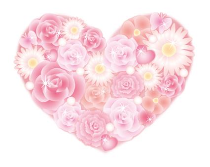 Glittery flower heart (rose · pink)