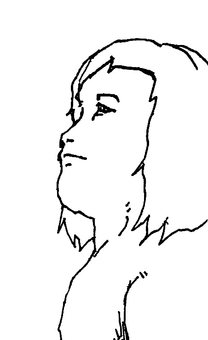 Profile of a long-haired person