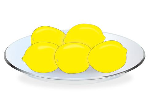 Lemon on glass dish