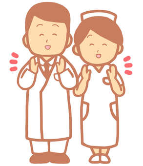 Clapping doctors and nurses