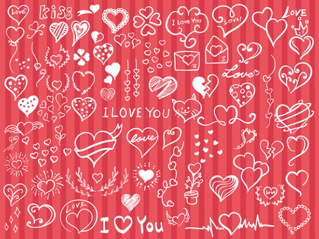 Handwritten Heart illustration material set