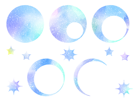 Watercolor moon and star (blue)