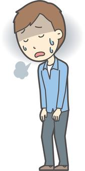 ブルー襟シャツ男性-137-全身