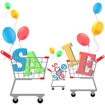 銷售,銷售,氣球,購物車