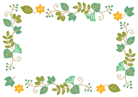 Decorative frame of leaves _ spring and summer