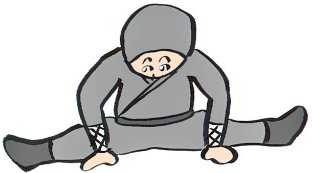 Ninja in open leg stretch