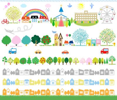 Cityscape Silhouette Combination Illustration 2