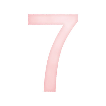 Hand drawn watercolor style numbers '7' pink / red / red