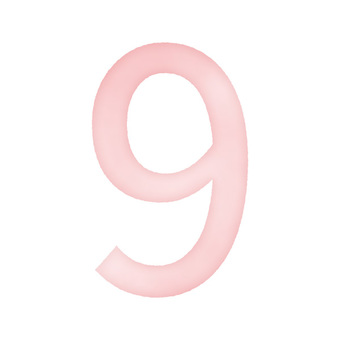 Hand drawn watercolor style number '9' pink / red / red