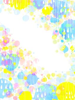 カラフル手描き雨フレーム