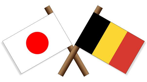National flag Japan x Belgium