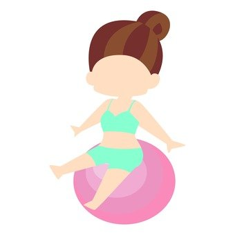 Diet - a woman riding a balance ball (simple)