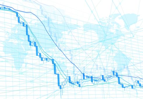 세계 주가 하락 차트와 디지털 흰색 배경