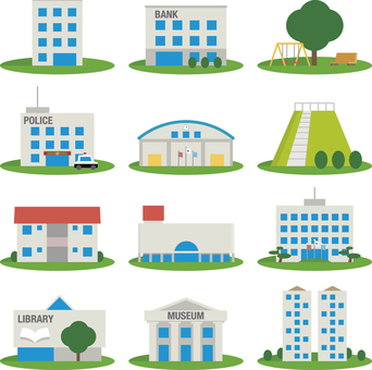 Icon set of residence, police station, public facilities, etc.