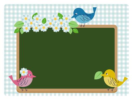 Birds and blackboard