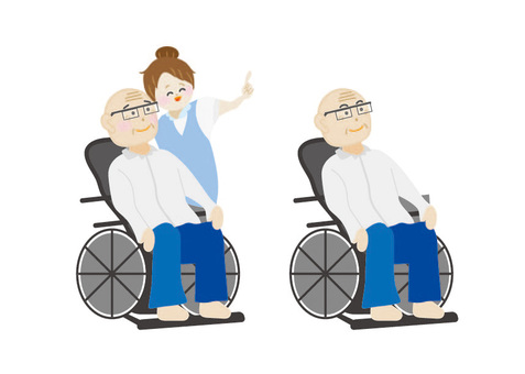 Old man in wheelchair and woman cuddling