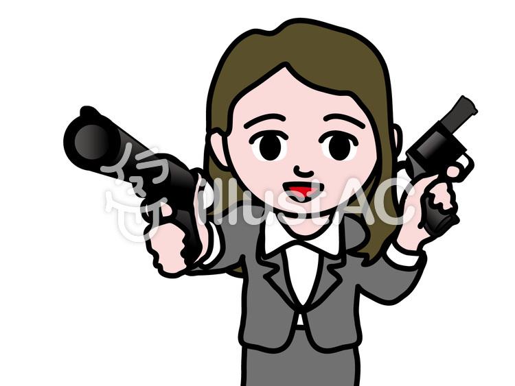 ビジネス女性 二丁拳銃イラスト No 1159154無料イラストなら